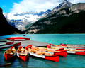 Canoes on Lake Louise Waterfront